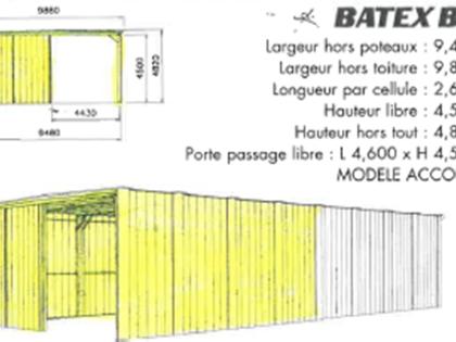 Hangar pliable type ALGECO BATEX de 100m2 d'occasion
