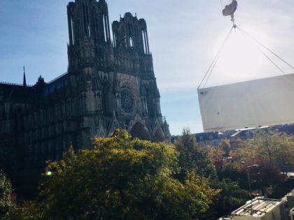 Des modules JAMART sur le parvis de la cathédrale de Reims pour l'hôtel 5* Marriott!